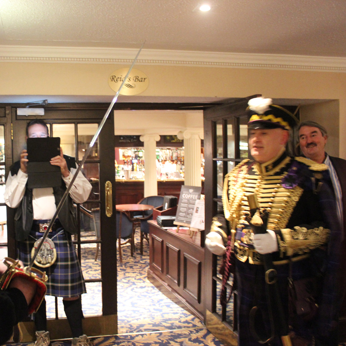 Jacobite Tours 1745 Jacobite Commander's Dinner. The Alba Hussar at the Salutation Hotel
